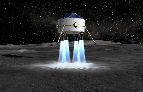 Astrium presents results of its study into automatic landing near the Moon's south pole (c) Astrium