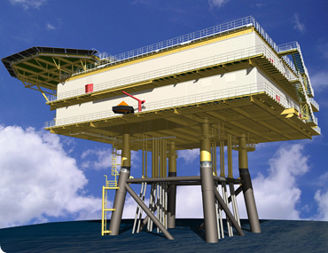 Illustration of a transformator platform for the Dan Tysk offshore wind park in the North Sea.