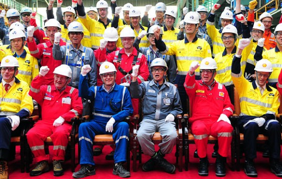 Prelude FLNG steelcutting Shell, Technip and Samsung Heavy Industries celebrate the first steel cut for the game-changing Prelude floating liquefied natural gas project's substructure. Front row L-R: Project Director Jaap de Vries, Technip Chairman & CEO Thierry Pilenko, Shell Projects & Technology Director Matthias Bichsel, Samsung Heavy Industries EVP and Shipyard General Manager D.Y. Park, Shell EVP Projects Rob Kretzers, Shell VP Technical and Prelude Bruce Steenson.  Type: Images File size: 2.16MB Uploaded: 18 Oct 12 File Type: JPG Dimensions: 3022 x