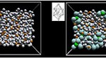 Making glass by changing the structure of a liquid. Left: normal liquid alloy of nickel (silver) and phosphorous (orange) atoms. Encouraging atoms to form bicapped square antiprisms (inset) turned the liquid into a solid glass (right) where the nickel (turquoise) and phosphorous (green) atoms in antiprisms are drawn larger