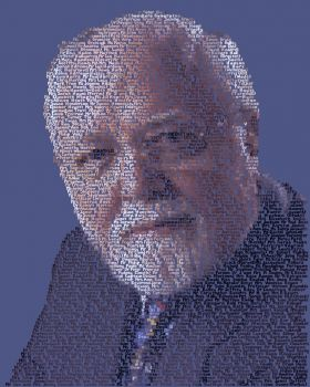 Prototype of the portrait of Lord Attenborough being painted by Brighton artist Mike Edwards