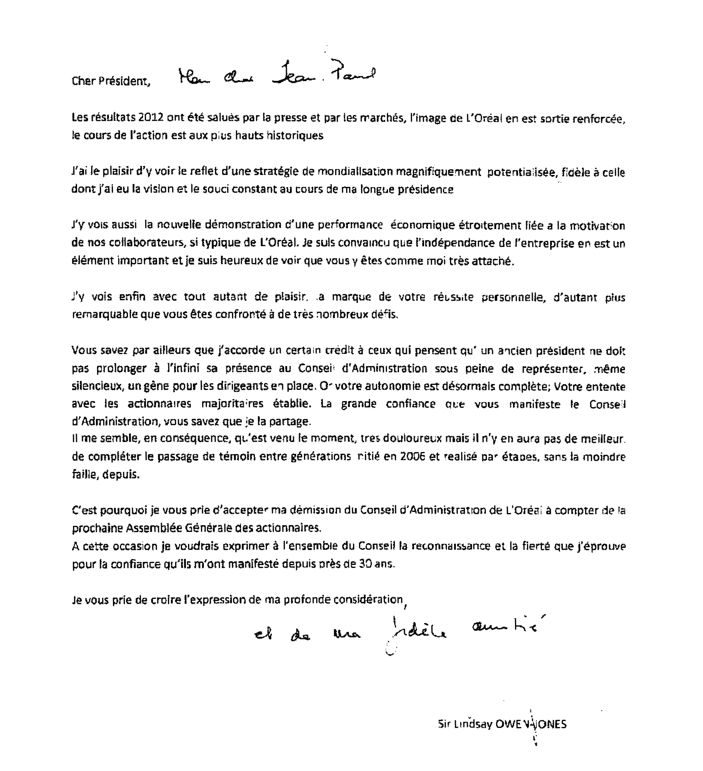 Letter sent to Mr Jean Paul Agon Chairman and CEO of L Oréal
