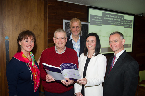 Pictured at the launch were Professor Rose Anne Kenny, Principal Investigator, TILDA, Paddy Clancy, journalist & TILDA participant, Professor Charles Normand, Edward Kennedy Chair in Health Policy and Management, Dr Anne Nolan, Research Director, TILDA and Professor Alan Barrett, Research Director, ESRI & Trinity