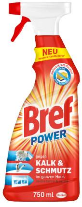 Bref Power sorgt mit der Sofort-Kraft-Formel für schnelle und starke Reinigung, ganz ohne Schrubben. Das verbesserte, ergonomische Design der Sprühflaschen ermöglicht eine noch leichtere Anwendung.