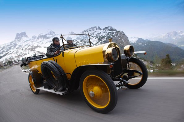 """The """"Alpine Victor"""": The first motor racing car from AUDI AG was the Audi Type C, which was developed in 1912. Between 1912 and 1914, this car won the biggest challenge at that time, the Austrian Alpine Run, three times in a row."""