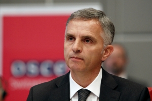 Didier Burkhalter, OSCE Chairperson-in-Office for 2014 and Head of the Swiss Federal Department of Foreign Affairs, at the Permanent Council in Vienna, 16 January 2014. (OSCE/Jonathan Perfect)