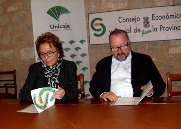 Carmen Espín, Presidenta de la Fundación Unicaja Jaén, y Luis Parras, Presidente del Consejo Económico y Social de la Provincia de Jaén.