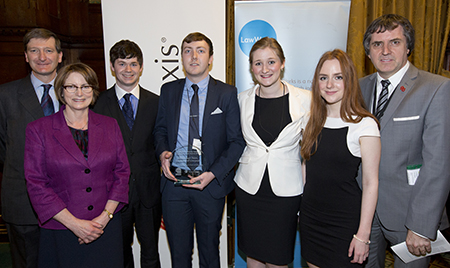 From left: Rt Hon Dominic Grieve QC MP Attorney General and Rt Hon Louise Ellman MP for Liverpool Riverside with winning students; Curtis Ball, Christopher Williams, Alexandra Charlton, Valeriya Sterkhova; and Rt Hon Steve Rotherham MP for Liverpool Walton