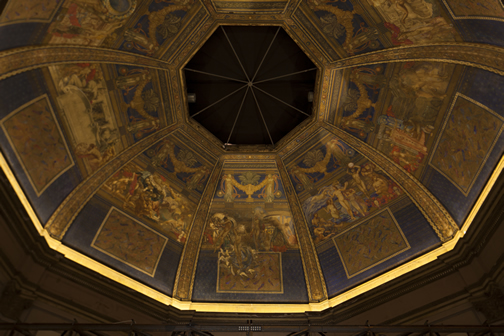 International Pavilion. The main feature is a special LED solution that sets the ceiling fresco by the Italian painter Galileo Chini in the dome centre stage using various colour temperatures.