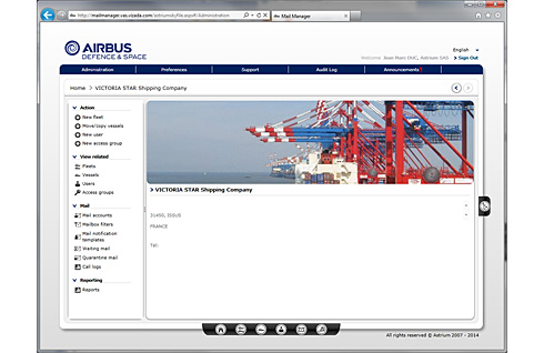 Airbus Defence and Space launches SkyFile Mail Manager to improve email account and traffic management capabilities for maritime: Homepage (c) Airbus Defence and Space