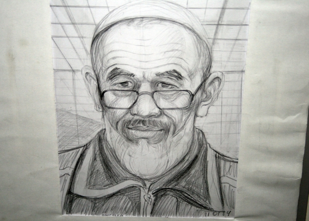 Sketch of Azimjan Askarov, prominent Kyrgyzstani human rights defender, drawn by himself during his time in prison in Bishkek. (OSCE)