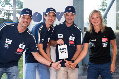 Alexander Stöckl (Head Coach), Anders Bardal (World Champion and World Cup Winner), Clas Brede Braten (Sports Director), Maren Lundby (best Norwegian ski jumping lady) / Credit: OMV/NSF, (2.01 MB, JPG)