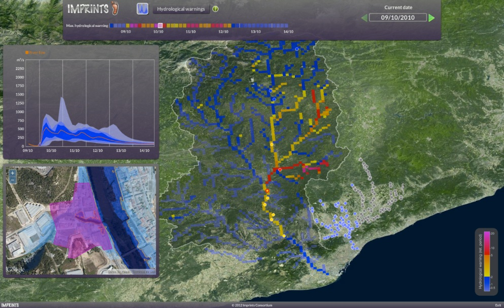 Imprints' early warning software provides a real-time overview of potential flash floods.