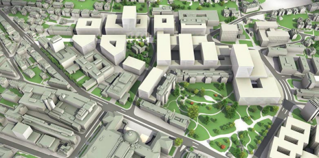 The university district is to be developed as a research campus and city neighbourhood. On 8 September, local residents were informed about the master plan. (Photo: Canton of Zurich Building Department)