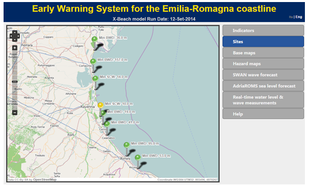 Caption: Local authorities in Italy's Emilia-Romagna region are using the MICORE projet's Storm Impact Early Warning System to help them respond more effectively to flooding.
