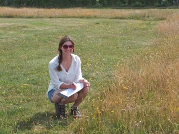 Researcher Katherine Fensome monitors the wildlife in unmown areas of Saltdean Oval