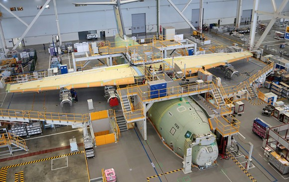 The first Airbus A400M airlifter for the Royal Malaysian Air Force takes shape at the Airbus Defence and Space final assembly line in Seville, Spain