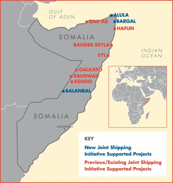 Today's additional funding will allow UNDP to start work in the towns of Alula and Bargal, near the tip of the Horn of Africa, and Balanbal in central Somalia.