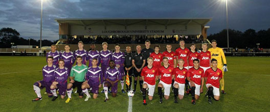 A 'Manchester United Youth XI' returns to play at Loughborough University Stadium against the Students football team on Tuesday 21 October