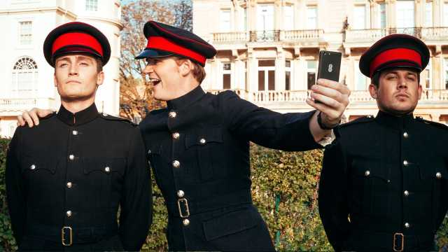 Prince Harry lookalike, Roddy Walker, at the 4G launch at the Royal Military Academy in Sandhurst