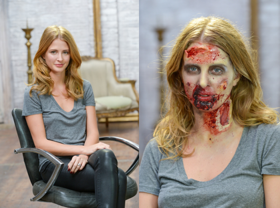NOW TV teams up with celebrity make-up artist and fan of The Walking Dead, Millie Mackintosh to recreate the gory look of a walker from the smash-hit zombie series