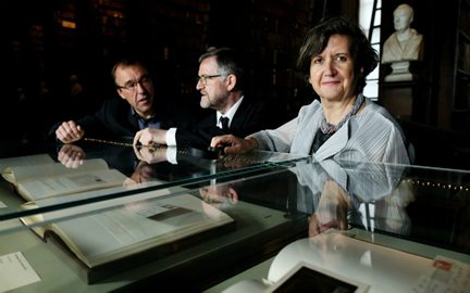 Pictured with some of the material of the acquisition are Seamus Heaney Professor in Irish Writing, Chris Morash, Keeper of Manuscripts, Bernard Meehan, and College Librarian and Archivist, Helen Shenton.