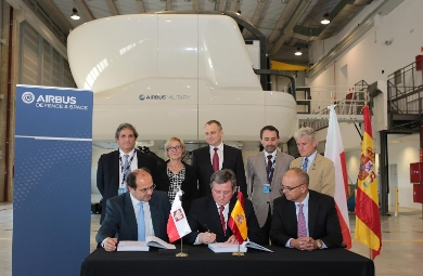The photograph attached shows Jan Wozniak, representative of the Polish Procurement Agency, at the moment of signing the contract. (c) Airbus Defence and Space