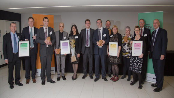 Ian Cowie, Chairman SME banking at RBS , with the winners of the RBS SE100 Awards 2014