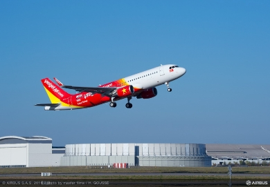 VietJetAir's first A320 on order from Airbus takes off from Toulouse, France for the first time (c) Airbus
