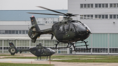 Two EC135´s of the German Army Aviation School starting into a training mission for student pilots. (© Copyright Airbus Helicopters, Charles Abarr).