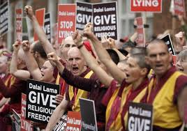 "The protesters claim that the Dalai Lama is lying when he says that he has never ""banned"" Dolgyal/Shugden"