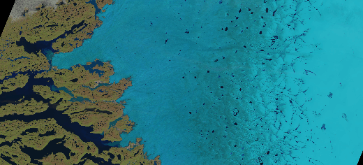 Caption: Supraglacial lakes on the Greenland ice sheet can be seen as dark blue specks in the centre and to the right of this satellite image. Credit: USGS/NASA Landsat