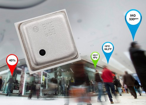 World's first environmental sensor combining pressure, humidity, temperature and indoor air quality The BME680 environmental sensor enables multiple new capabilities for portable and mobile devices such as air quality measurement, personalized weather stations, indoor navigation, fitness monitoring, home automation and other applications for the Internet of Things (IoT).