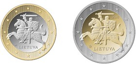 The national side of Lithuanian one and two euro coins © Bank of Lithuania, 2014