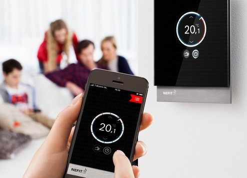 """The building of the future is connected: smart heating, smart home In the Netherlands, Bosch Thermotechnology offers the WiFi-enabled """"Nefit Easy"""" room controller with a modern touch screen, which allows users to control their heating systems via their smart phones. Users can rely on the very high safety and data security standards that Bosch has developed."""