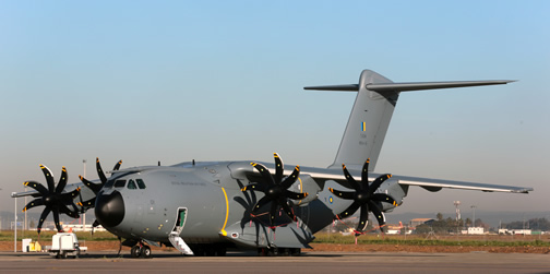 The first Airbus A400M new generation airlifter for the Royal Malaysian Air Force painted in its new colours at the Airbus Defence and Space facility in Seville, Spain