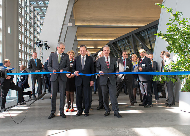 The European Central Bank (ECB) inaugurated its new premises on the site of the Grossmarkthalle, Frankfurt's former wholesale market hall