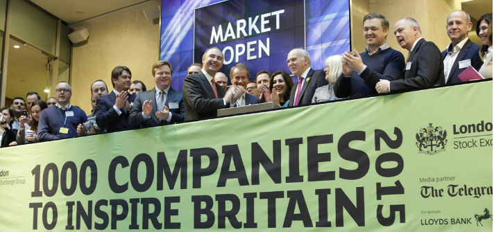 50 company CEOs opened trading in London to celebrate London Stock Exchange's launch of '1000 Companies to Inspire Britain' 2015