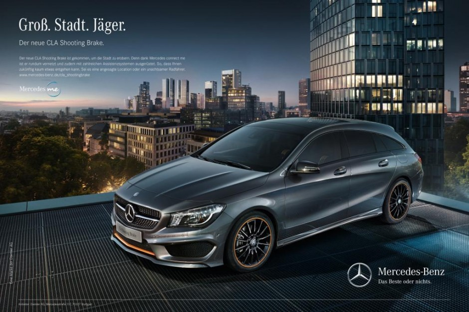 "Under the claim ""Designed for urban hunting."", the integrated market launch campaign stages the new Mercedes-Benz CLA Shooting Brake as a hunter stalking prey in the urban jungle."