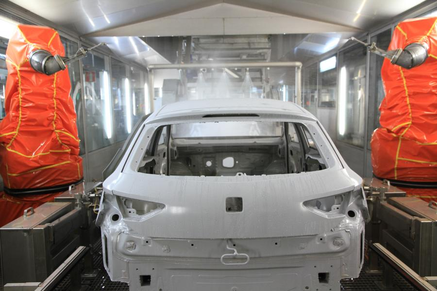 The car in the pre-paint washing station