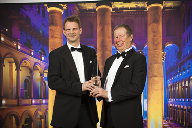 Photo: Tobias Persson and Peter Andersson from Saab accept the Aviation Week Laureate Award
