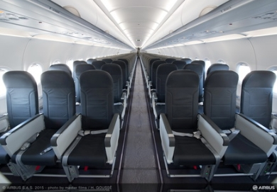 Vueling takes delivery of its first enhanced comfort A320 cabin featuring the Airbus Space-Flex concept (c) Airbus