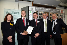 L-R in the image are: Professor Helen Fielding (Royal Society of Chemistry), Ryan Gorman (University of York), James Perham-Marchant (award sponsors, John Wiley and Sons), Stephen Benn (Parliamentary & Scientific Committee), Andrew Miller MP (Chair, Parliamentary & Scientific Committee).
