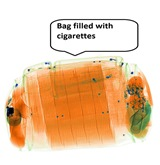 Cigarettes detected by X-ray scanner
