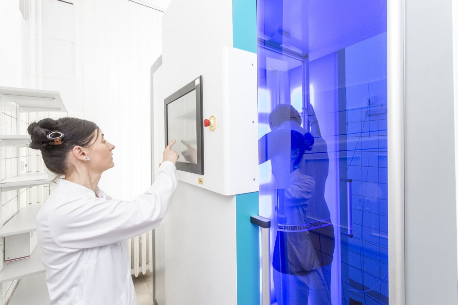 The Dermascanner scans the surface of a patient's skin from different positions and divides it into around one hundred individual images.  © Dirk Mahler/Fraunhofer IFF