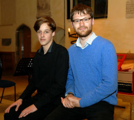 NCEM Young Composer of the Year Award winners Joshua Urben and John Goldie-Scot (right)