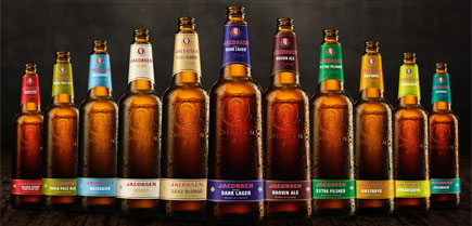 The currently available range of Jacobsen beers.