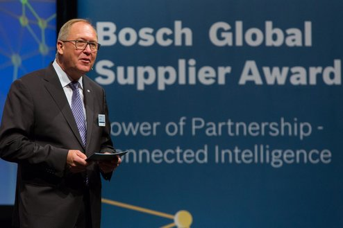 "14. Bosch Global Supplier Award 2015 Prof. Dr. Karl Nowak, President Corporate Sector Purchasing and Logistics Robert Bosch GmbH, at the award ceremony of the ""Bosch Global Supplier Award 2015"" in Stuttgart."