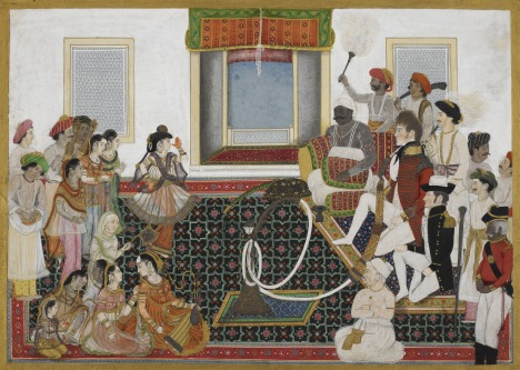 Anonymous Delhi School Mahadaji Sindhia entertaining a British naval officer and military officer with a Nautch c. 1815-20 Watercolour on paper 222 x 317 mm British Library