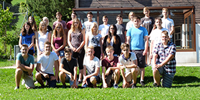 The new Hilti apprentices from Liechtenstein and Switzerland during introductory activities in Wildhaus, Switzerland.